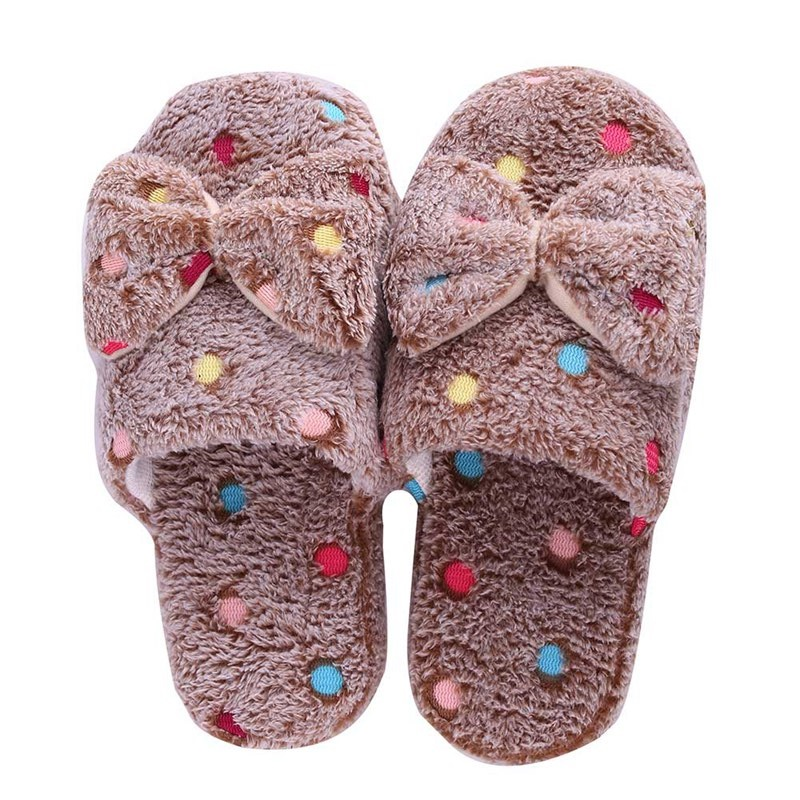 Home Slippers Factory Direct Large Bow Love Slippers Women Winter Warm Cotton Fabric Slippers Indoor Home Floor Shoes winter warm home floor slippers women