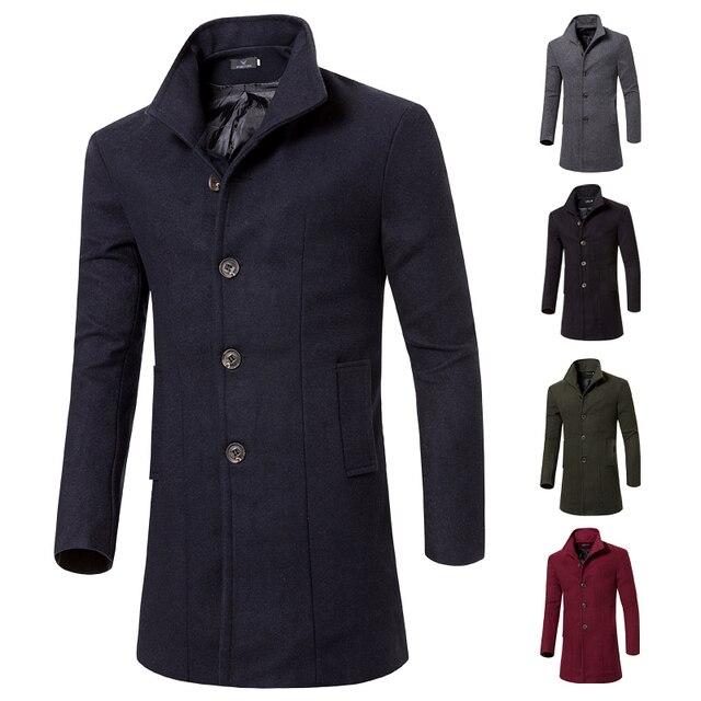 Moda 2016 invierno largo trench coat de los hombres de la marca de buena calidad 5 colores solo pecho slim fit hombres abrigos de lujo