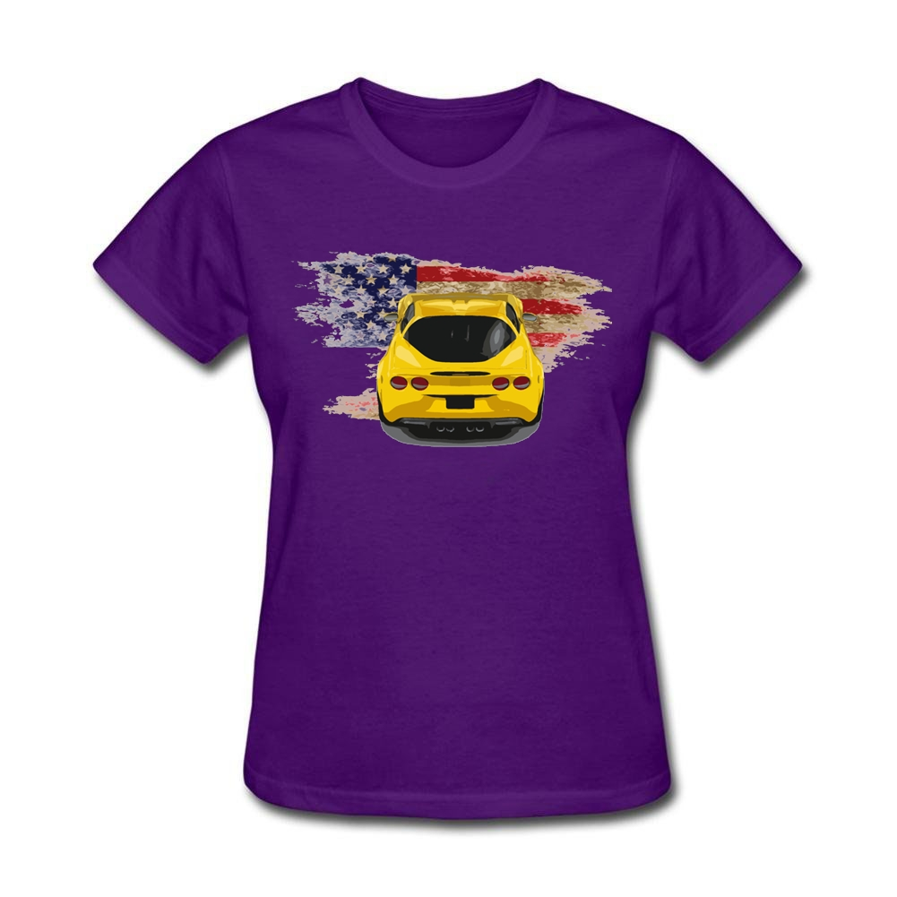 Women's Comic Corvette C6 on American Flag T Shirts Zone His and Her Blue T Shirts Car Screw Neck Tees Cheap