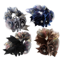 MISM 1 pc Multicolor Yarn Flower Elastic Hair Band Women Vintage Ponytail Holders Rubber Band Girl Ribbon Gum Headdress Scrunchy(China)
