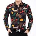 Camisa de los hombres Nuevos hombres del Diseño Impreso Camisas de Manga Larga de Los Hombres Camisas de Vestir de Otoño camisa Casual camisa masculina Más tamaño 7XL