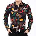 Men Shirt New Design Men's Printed Shirts Long Sleeved Men Dress Shirts Autumn Casual Shirt camisa masculina Plus size 7XL