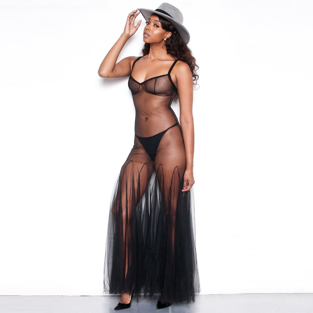 2019 Sexy Women Sheer Mesh Maxi Dress Pleated Strappy Sleeveless Party Club Long Dresses See-thought New Summer vestidos Female semi formal summer dresses