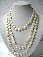 Beautiful 11 13mm White Coin Pearl 80 Long Necklace LK+3