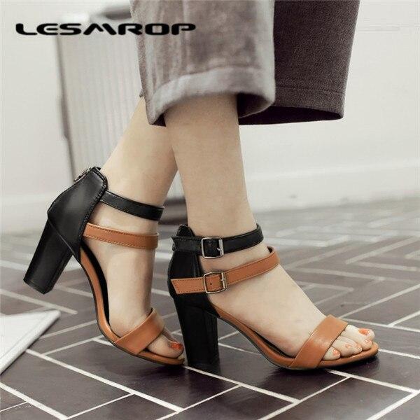 Americana Zapatos 35 Y Sandalias Tacón Europea 6724 Para Marrón Salvaje Mujer Nuevo Con De blanco Crudo Calzado 42 Gran Alto Tamaño nFw8xq5a8z