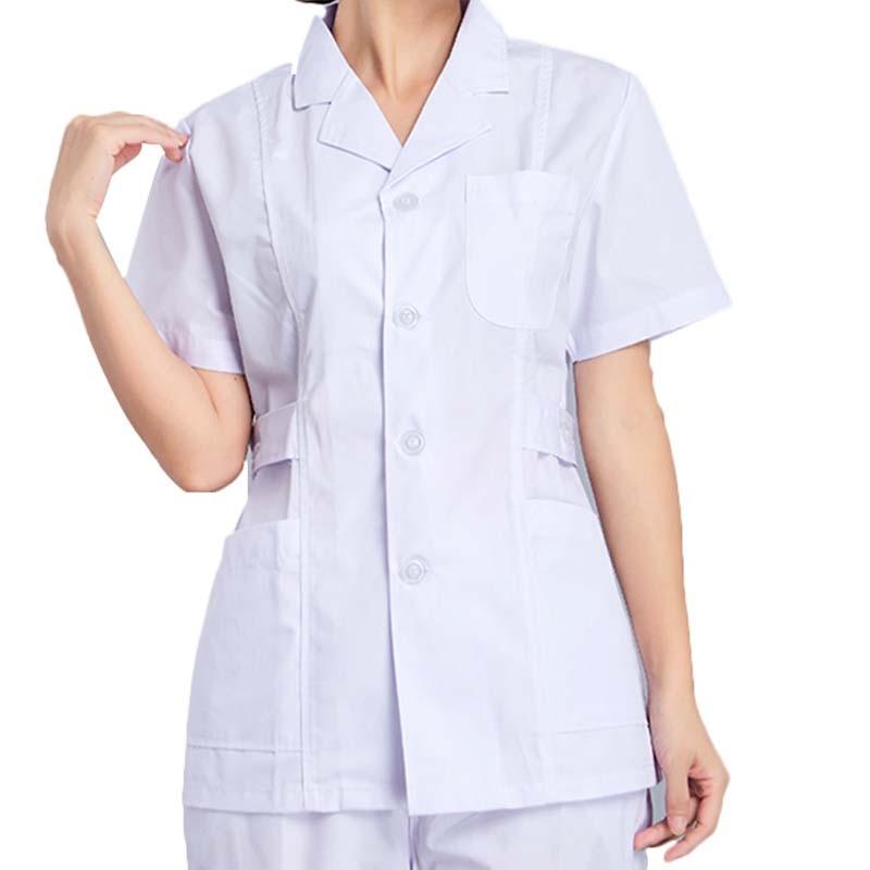 [TOP] Women Medical Short Sleeve Slim Fit Scrub Tops Doctors Nurse Uniform