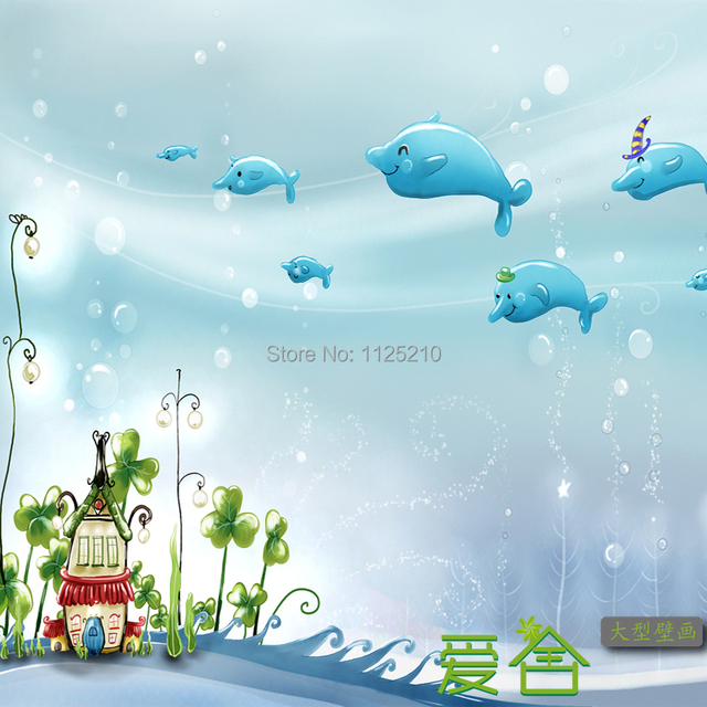 Free shipping 3d blue sea world dolphin children room mural of boy free shipping 3d blue sea world dolphin children room mural of boy and girl baby room voltagebd Image collections