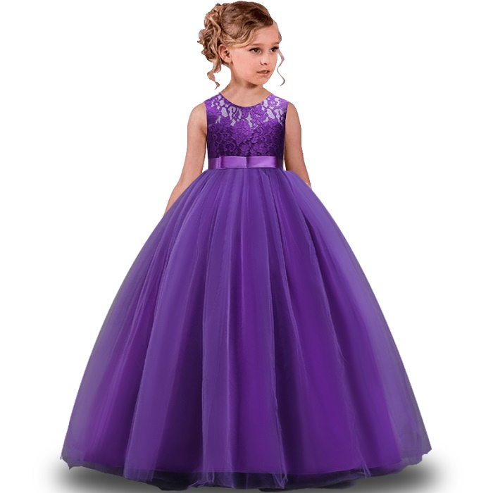 96836ac93170 Lace Flower Girl Long Dress birthday Party Kids Clothes Party Dresses For Girl  Frocks Children's Costume