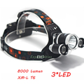 XML T6 8000 Lumens 4 Mode LED Headlight Led Rechargeable Hunting Spotlight Lamp Head Light Waterproof Outdoor  Headlamp