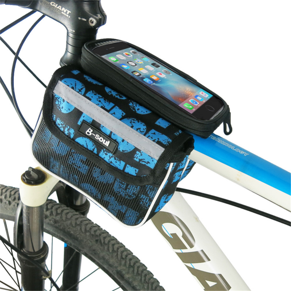 Large Capacity 2.5L 5.5 inch Touch Screen Bike Front Frame Cycling Bag Outdoor Sport MTB Road Bicycle Tube Bag For Smart Phone