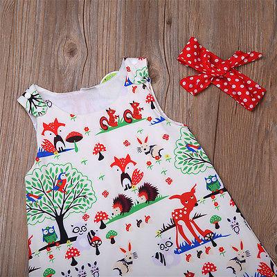 3PCS Infant Top Dress+Short Pants+Headband Outfits Set