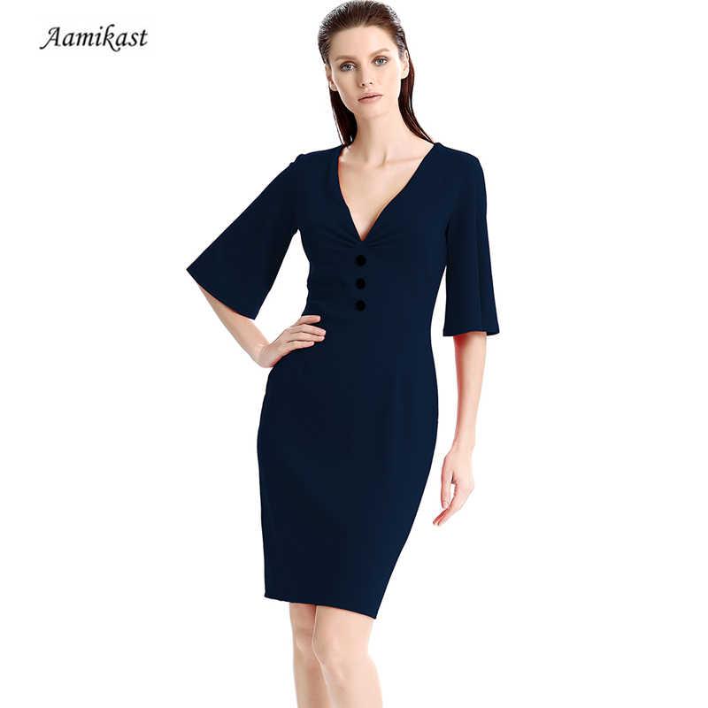 ba7028b3f349d0f Винтажное женское с v-образным вырезом 3/4 рукав кнопка миди платье осень  элегантные
