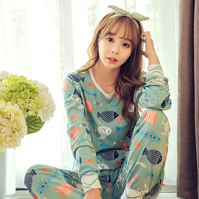 Womens Pajamas Sets Long Sleeve Long Pants Suit Cute Cartoon Sleepwear Women's Pijamas Suit Home Clothes Pyjama Femme