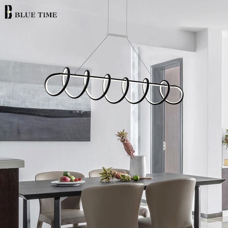 New Design Modern Led Pendant Lights For Living room Dining room Kitchen Lamp BlackWhite Frame Led Pendant Lamp Hanging Lamps