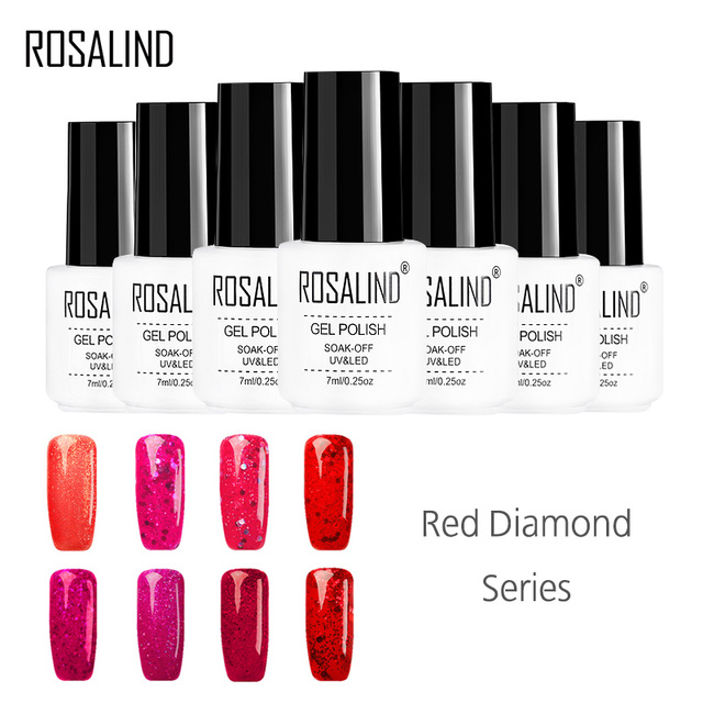 ROSALIND Gel 1S Diamond Glitter Color 7ML 2017 Hot Sale Gel Nail Polish LED/UV Lamp Gel Nail Lacquer Manicure Gel polish