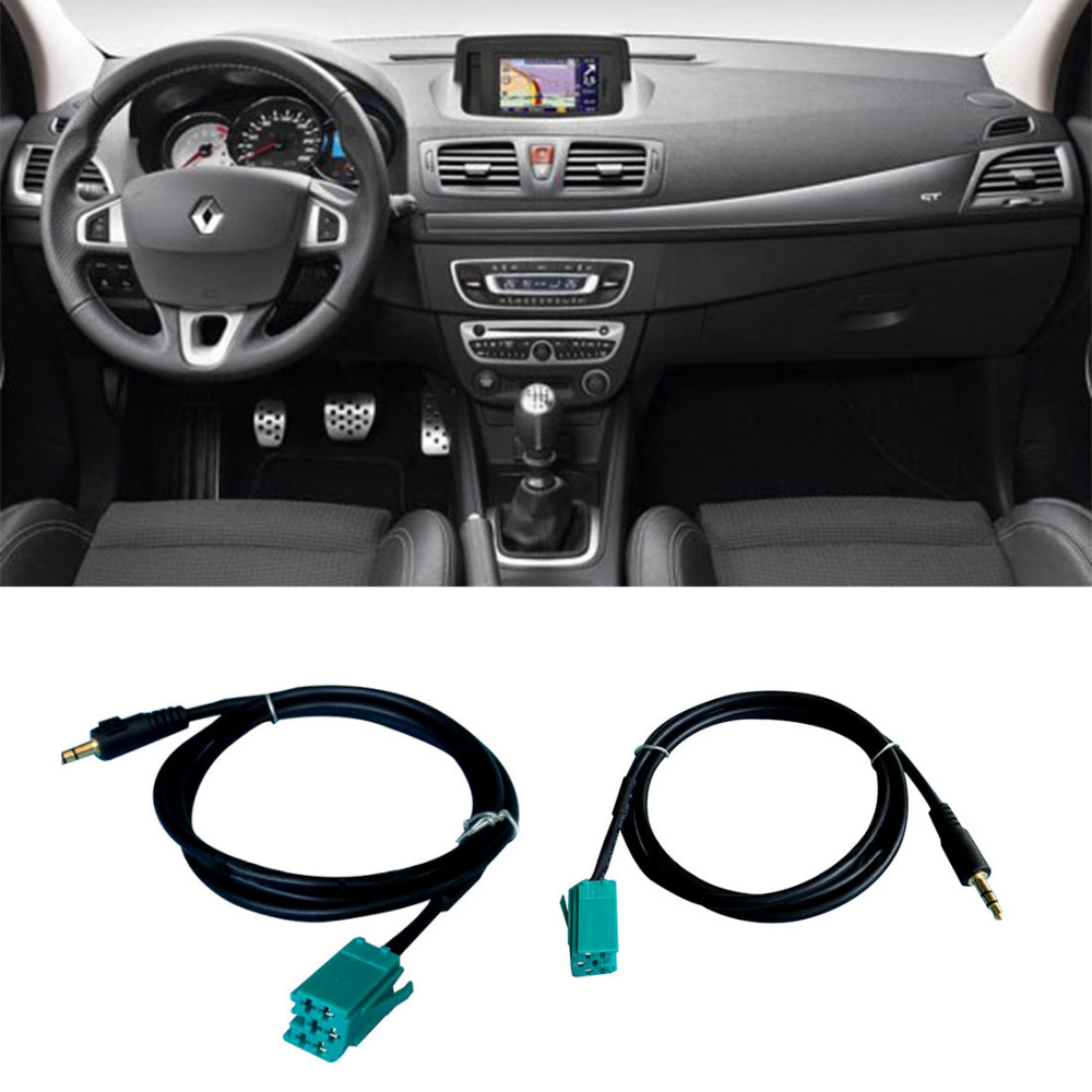 Dewtreetali Stereo Audio Line Ingång Adapter Kabel 3,5 mm för iPhone iPod MP3 + Removal Tool för Renault 2005-2011 Clio Megane