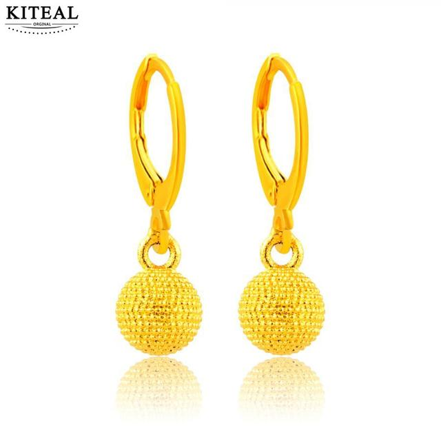 Gorgeous 24k Gold Color Earring Solid Ball Drop Earrings For Women Penntes To Us Bear Prices