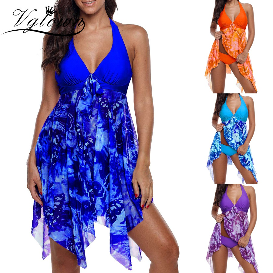 13294931ca224 VGTOWN New Print Floral Plus size Two Piece swimsuit Tankini Sets With shorts  women Halter swimwear