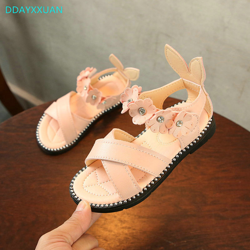 Flowers Girls Sandals 2018 New Summer Brand Gladiator Children Princess Shoes Kids Party Shoe for Girls Sandals size 21~30