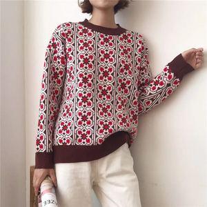 Image 4 - Vintage doux multicolore Plaid Jacquard tricot Pull femmes à manches longues en vrac dames pulls décontracté Pull Femme C 424