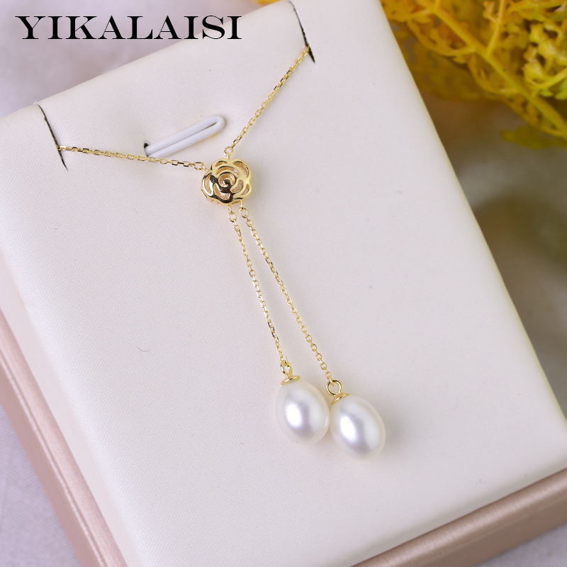 YIKALAISI 925 Sterling Silver Natural Freshwater Pearl Pendants Jewlery For Women Double 8-9mm Pearl Size 4 Color