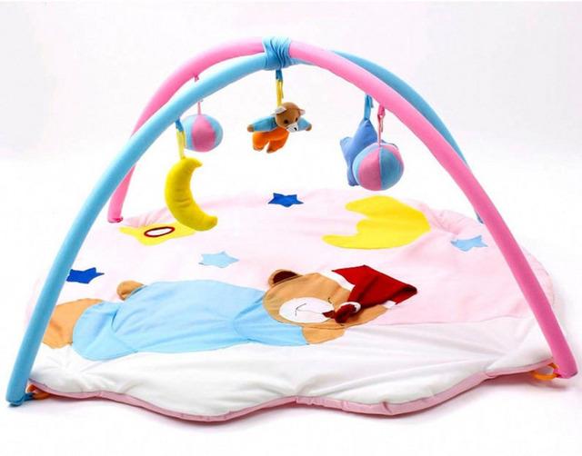 Desenhos Animados do divertimento de Dormir Urso Macio Brinquedo Miúdos Criança Musical Esteira Do Jogo Do Bebê Ginásio Atividade Jogo Cobertor Do Bebê Engatinhando Almofadas Interior