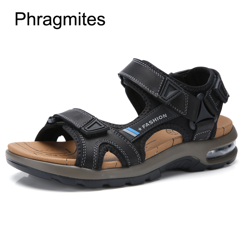 Phragmites Comfortable Air Cushion Men Sandals Handsome Beach Summer Shoes Genuine Leather Men Shoes Open Toe