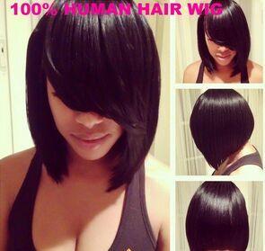 Fashion African American Oblique Long Bangs Short Bob Wig For Black Women Synthetic Full Hair