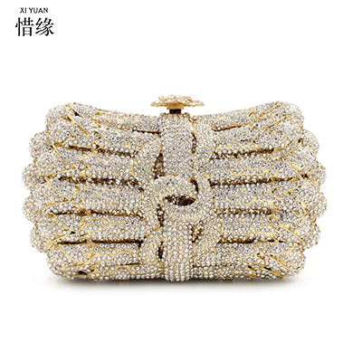 XIYUAN BRAND Women Party Handmade colorful Diamond Clutch Bag Bridal Wedding Beaded bags Metal Clutches Hard Case Crystal wallet все цены