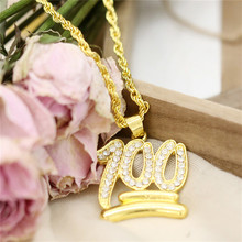 TTLIFE Charm Iced Out Bling Rhinestone Chain Necklace Gold Color Crystal Emoji 100 Pendant Men Hip Hop Rock Jewelry