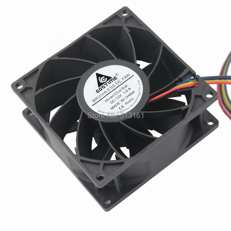Купить с кэшбэком 5Pcs Gdstime DC 12V Server Square Fan 4 Wire 92x92x38mm Waterproof Computer Case PC Cooling Fans
