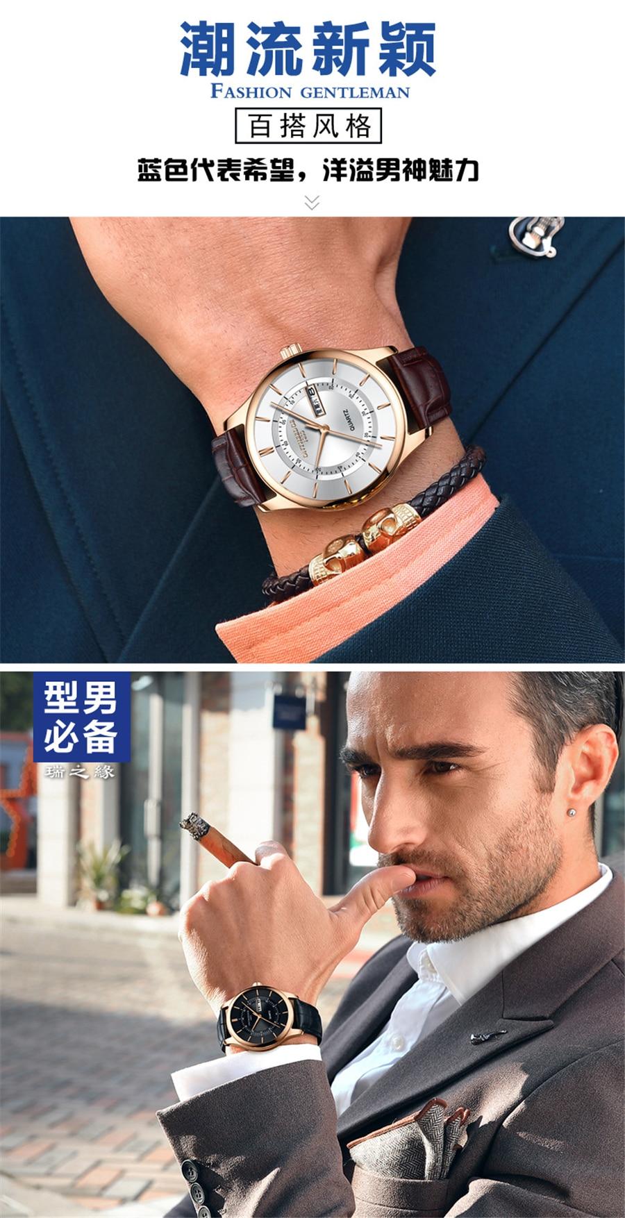 HTB1EFs1iHGYBuNjy0Foq6AiBFXaK High Quality Rose Gold Dial Watch Men Leather Waterproof 30M Watches Business Fashion Japan Quartz Movement Auto Date Male Clock