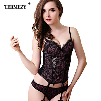Sexy Lace Corsets And Bustiers Women High Quality Lace Up Firm Female Corset Push Up Lingerie Bustier Sheer Mesh Overbust Corset