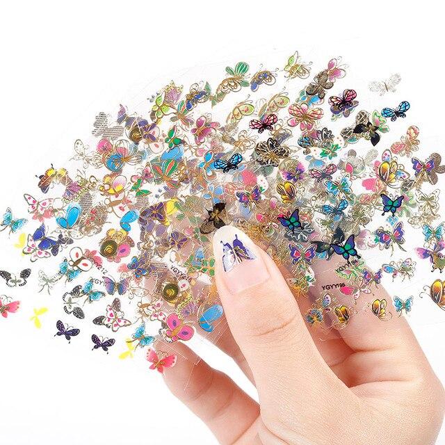 наклейки на ногти 24 Лист Ногтей Наклейки в 1 Большой Размер наклейки для ногтей Листа Луна Бабочка животное Рисунок Для Тиснения 3D Подвески Bronzing Nail Art Наклейка оптовая