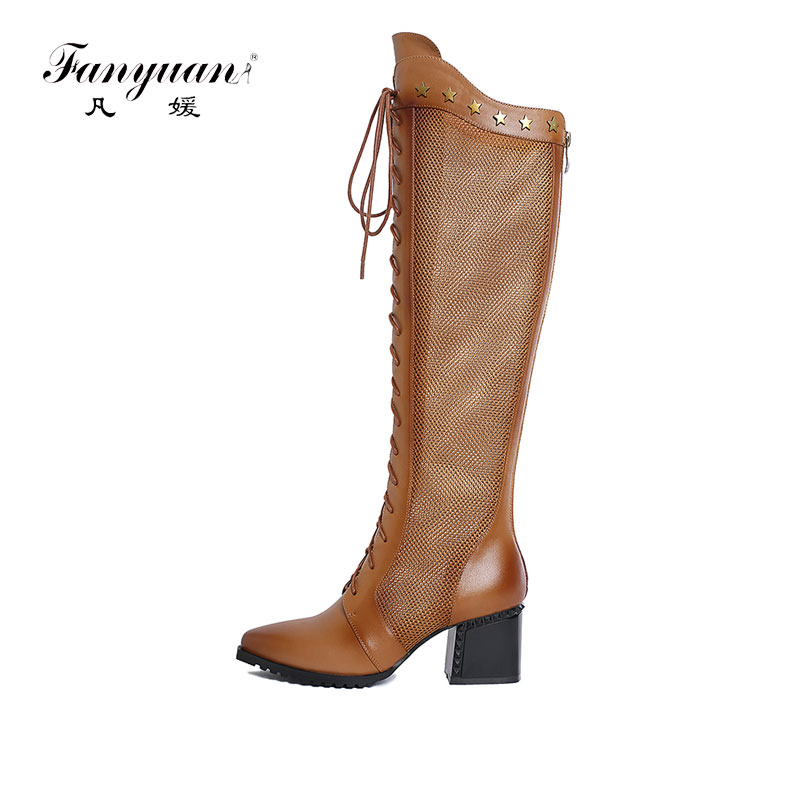 Fanyuan Women Autumn Winter Genuine Leather Thin High Heel Lace Up Side Zip Pointed Toe Lace Over The Knee Boot Plus Size 34-42 autumn winter women thin high heel genuine leather side zipper pointed toe fashion over the knee boots size 33 40 sxq0818