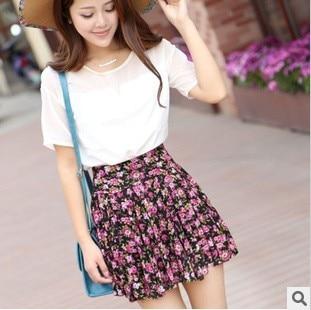 New 2020 Skirt Summer Dots Leopard Flower Womens Fashion Ruffle Pleated Printed High waist floral skirts 5113