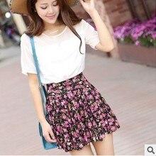 Floral Skirts Flower Womens Summer Pleated-Printed Ruffle Leopard High-Waist Fashion