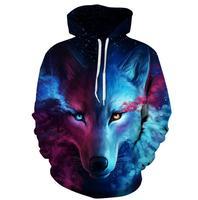 Men And Women's New Fashion Star wolf 3D Digital Printing Baseball Uniform Fashion Street Hooded Hoodies