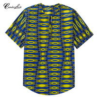 Africa Clothing Casual Henley Shirt African Dashiki Traditional Tee Tops Men Button Placket Front Fashion T