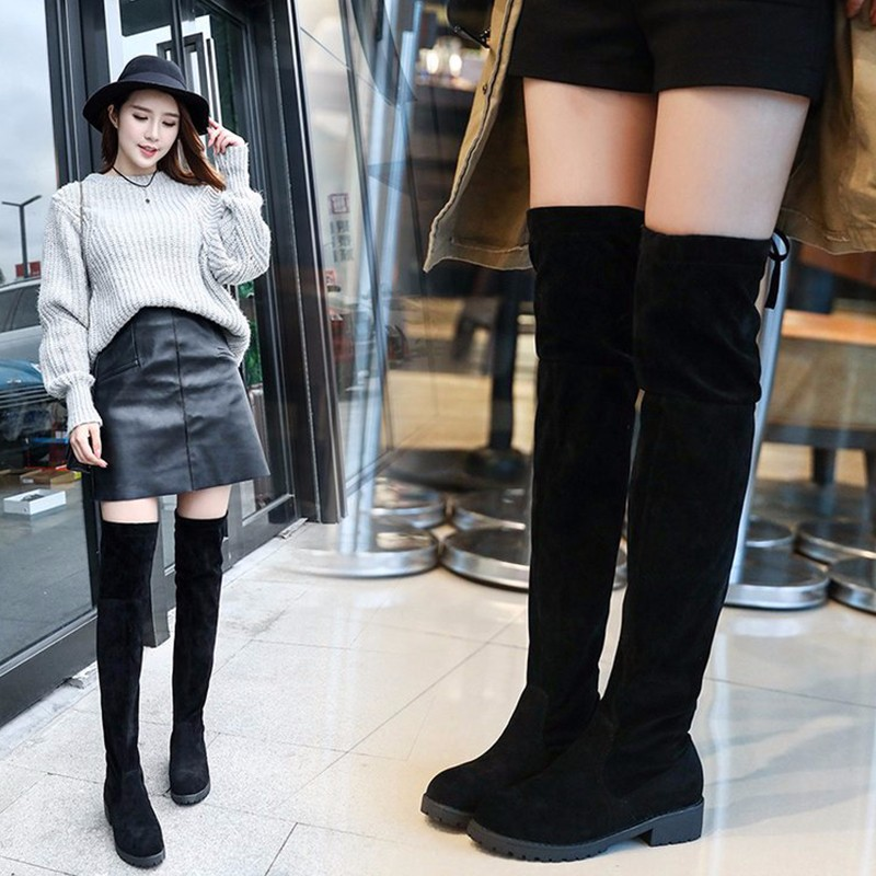 Fashion Lace Up Over Knee Women Boots Ladies Flats Shoes Woman Suede Long Boots Winter Casual Over The Knee Boots 34-41Size luxury purple floral highland sheep suede boots cat out flower spring winter over the knee boots women brand shoes nancyjayjii