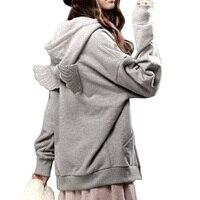 Moda Agasalho Com Capuz de Lã Hoodies Outwear Estilo Linda Asas de Anjo 3D Asas Moletons