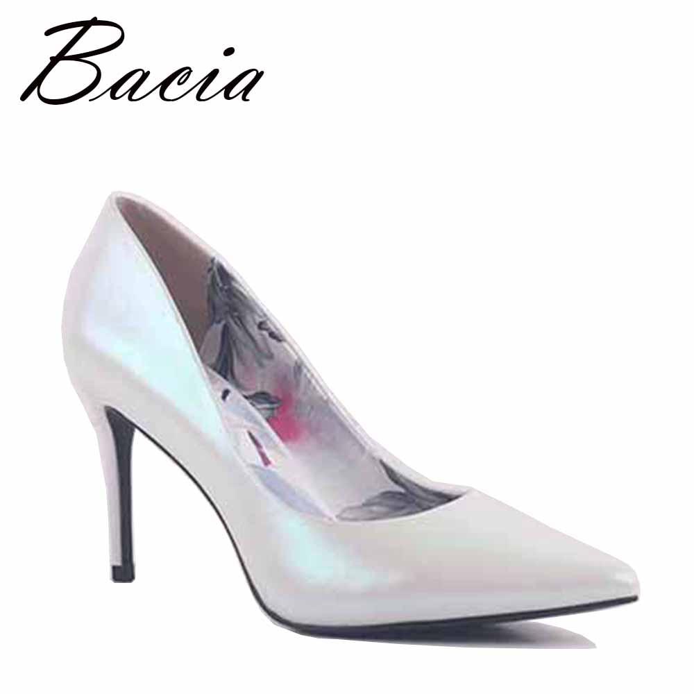 Bacia witte parel glanzend lederen schoenen dames 8.7cm hoge hakken - Damesschoenen