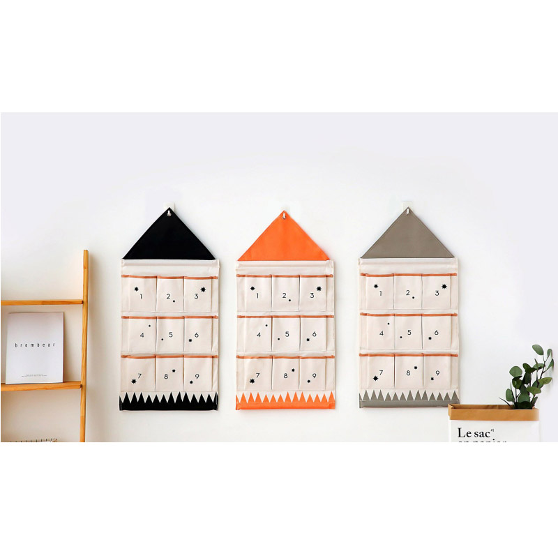 Number House Shaped Wall Hanging Storage Bag with 9 Pockets Folding Over Door Back Multifunction Sundries Organizer