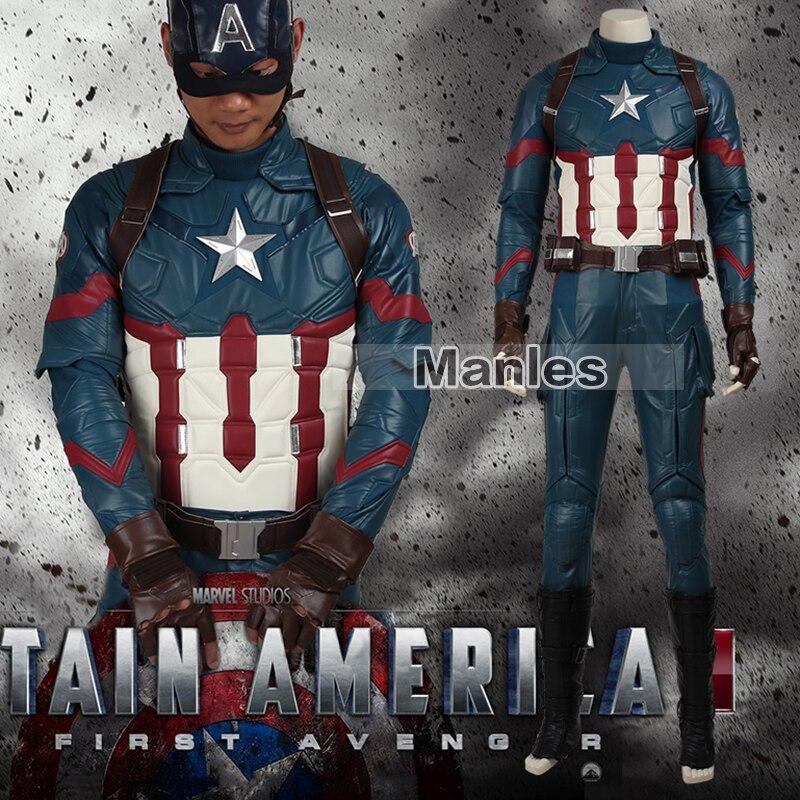 Film Coser Captain America 3 Guerra Civile Costume Steve Rogers Cosplay Costume da Supereroe Vestito di Halloween Outfit Per Adulti di Cuoio Degli Uomini