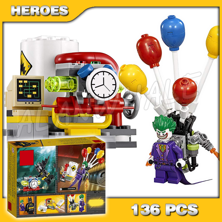 136pcs New Super Heroes Batman Movie The Joker Balloon Escape 10626 DIY Model Building Kit Blocks Gifts Toy Compatible with Lago image