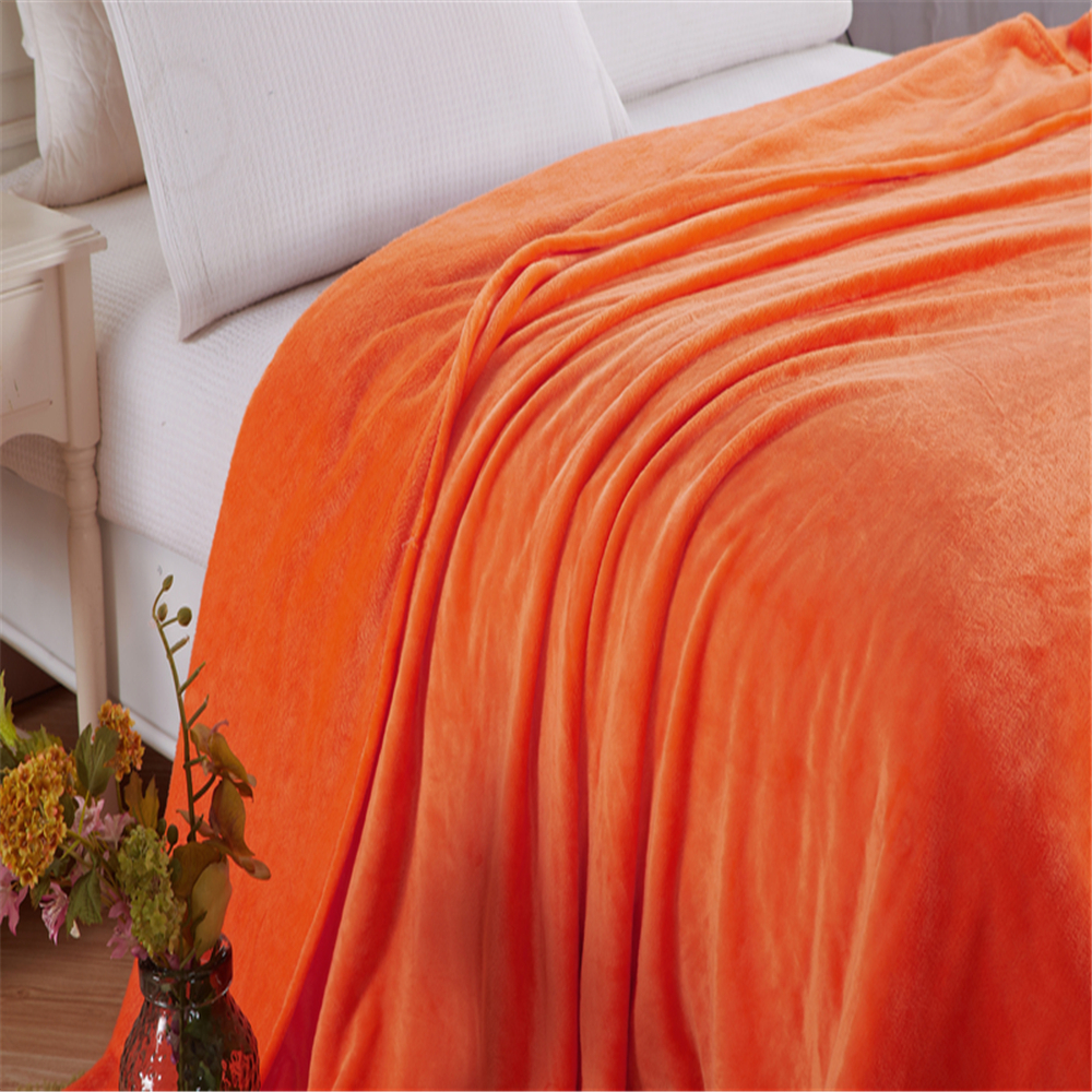 Solid Orange Color Coral Fleece Blanket Super Soft Sofa Cover Mink Throw Twin Queen Single Bed Double Bed Faux Fur Blankets in Blankets from Home Garden