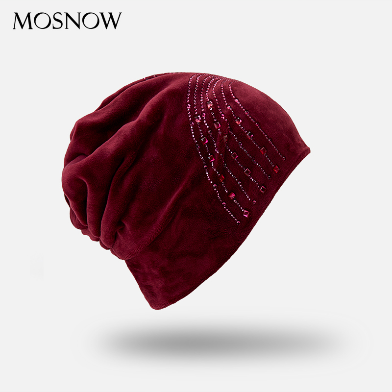 Autumn Winter Women's   Beanies   Velvet With Flashing Rhinestone Hat Ladies 2018 New Warm   Skullies   Cap Casual   Beanie   Wholesale