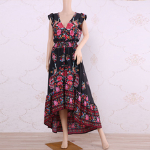 V Neck Vintage Print Long Dresses