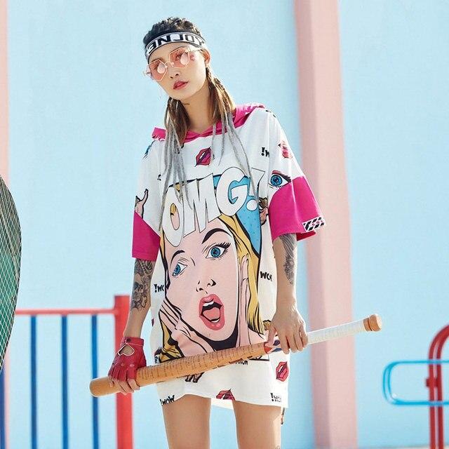 TREND-Setter 2018 Spring New Hip Hop Style Cartoon T Shirt Women Hooded Tops Girl Pattern Tshirt Short Sleeve - aliexpress