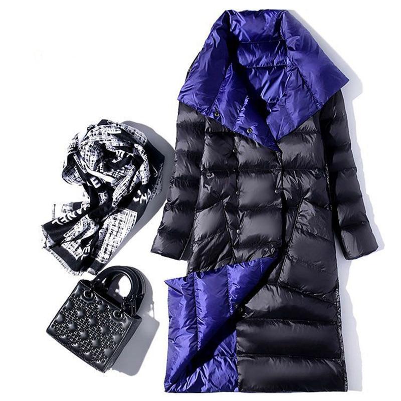 Sanishroly 2019 Double Coat Women White Duck Down Coats Parka Slim Ultra Light Down Jacket Female Long Outwears Plus Size SE406